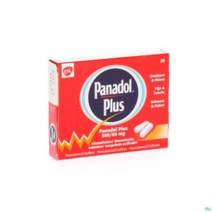 Panadol Plus 500mg/65mg Comp Pell 20